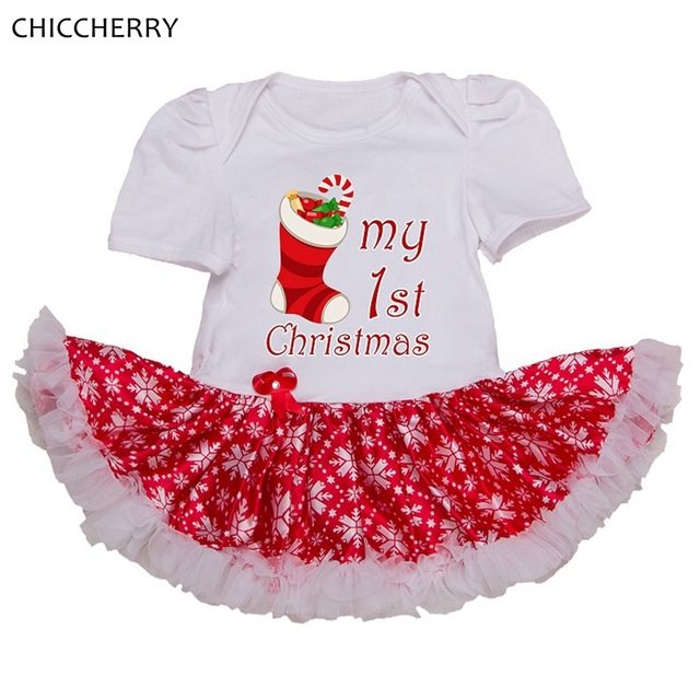 My 1st Christmas Gift Baby Christmas Costumes Red Girls Dresses Lace Tutu Romper Vestidos Infantil New Born Infant-Clothing