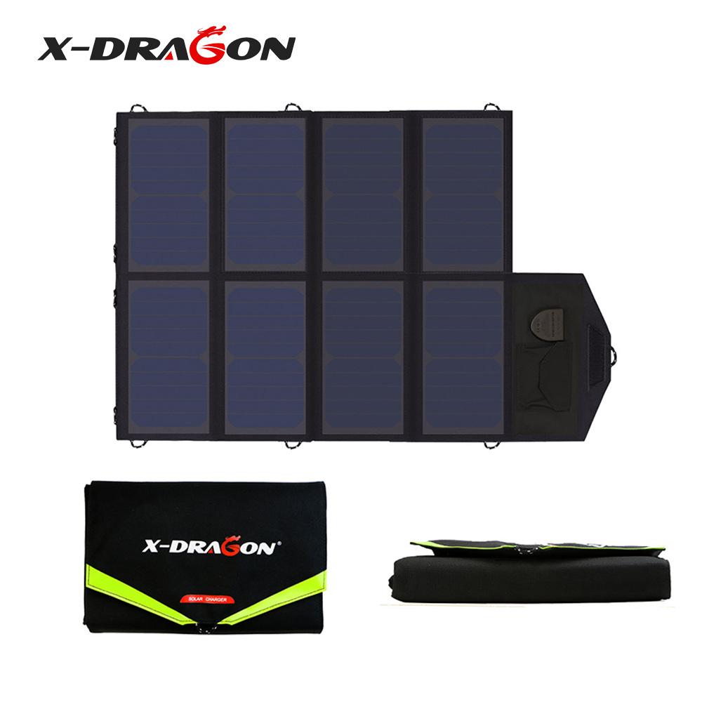 X-DRAGON <font><b>40W</b></font> Foldable Portable Solar <font><b>Charger</b></font> for iPhone iPad Macbook Samsung HP Dell other Phone Tablet Laptop 12V Car Battery