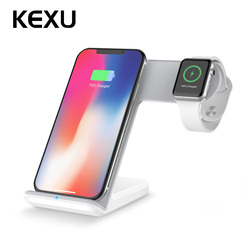 KEXU 2 in 1 Fast Charging Qi Wireless Charger for Apple watch 1 2 3 4 For iPhone XS Max XR X 8 Plus For Samsung S9 S8 note 9 8
