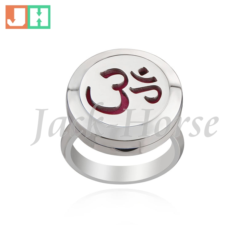 Stainless Steel Essential Oil Diffuser Ring OM symbol Perfume Aromatherapy Ring magnet locket Ring With Pad