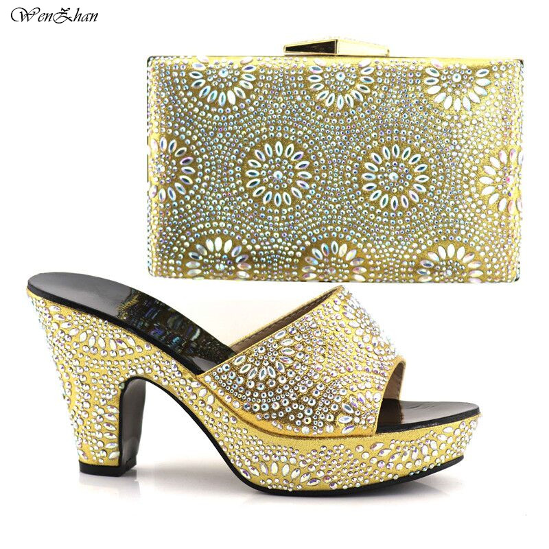 WENZHAN Gold Decorated With Rhinestone Woman Soft Shoes And Bag Set Italian Woman Shoes And Bag Set For African Party C84-12 все цены