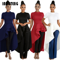 INMOTENG Women High Low Dress Layers Ruffled Night Party Wear Irregular Length Normal Dresses Gowns Summer Clothing Plus Size