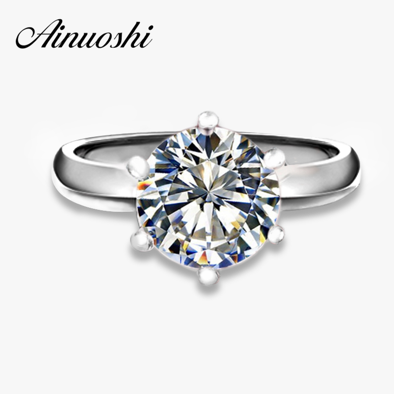 Hearts and Arrows 6 Prong Setting Rings 1.5 Carat Synthetic Sona Engagement Wedding Ring for women Solitaire Ring with Accents