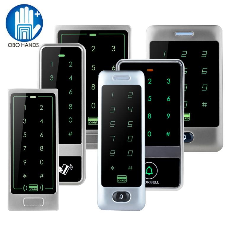 Silver Metal RFID Access Control Keypad System Touch Panel Access Controller Reader with 10 pieces RFID 125KHz Keyfobs