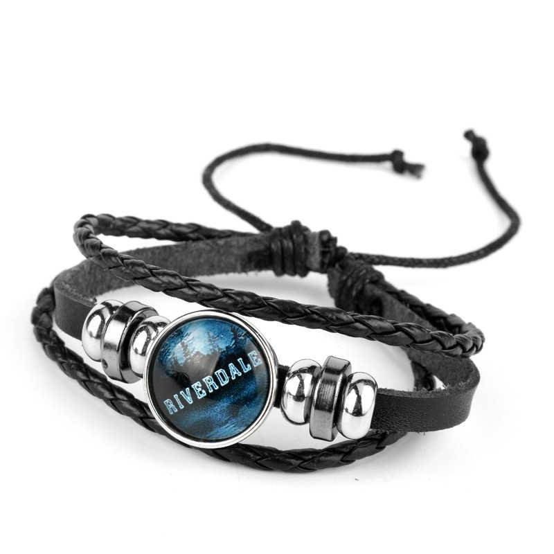 Riverdale Gelang Perhiasan Pria dengan Kulit Asli Multilayer Riverdale Pola Kaca Cabochon Pesona Bangle Bracelet Beaded