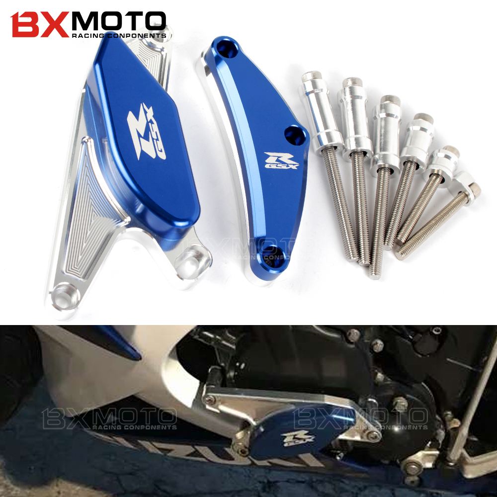 Engine Guard Cover For Suzuki GSXR 600 750 GSX R GSXR600 Motorcycle CNC Aluminum Frame Slider Protector Crash falling protection new 7 8 2pcs proguard cnc aluminum lever guard protector for suzuki gsxr 750 drz400 450 250 250r crf50 tmax z800 z750 r1 r6