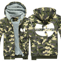 Wu Tang Symbol Hoodie Camouflage Winter Coat Chinese Traditional Culture Pattern Thicken Fleece US Plus