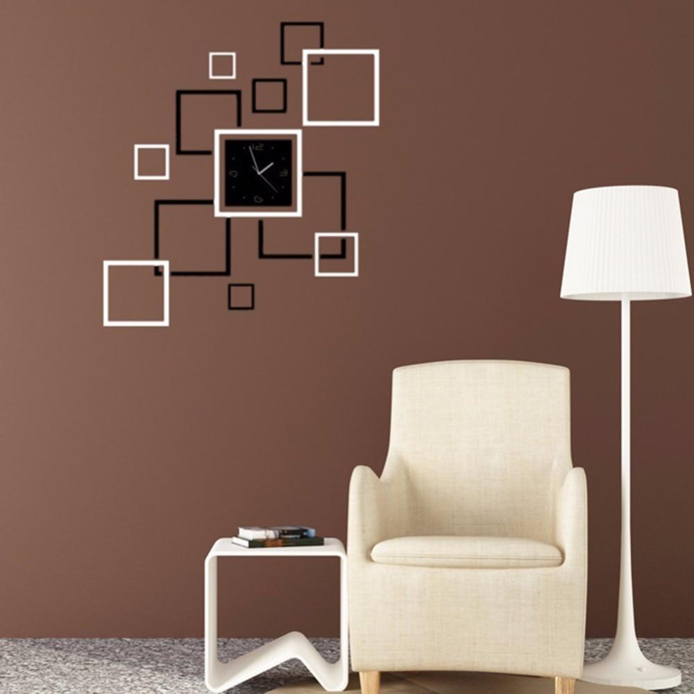 nuevo diseo diy decoracin del hogar del reloj de pared d de super gran tamao del espejo etiqueta de la pared cuadrada r