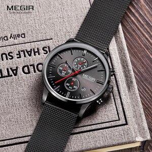Image 3 - Megir relógio masculino de pulso, relógio de quartzo com pulseira de aço inoxidável, cronógrafo com calendário, luminoso analógico, moda masculina 2011