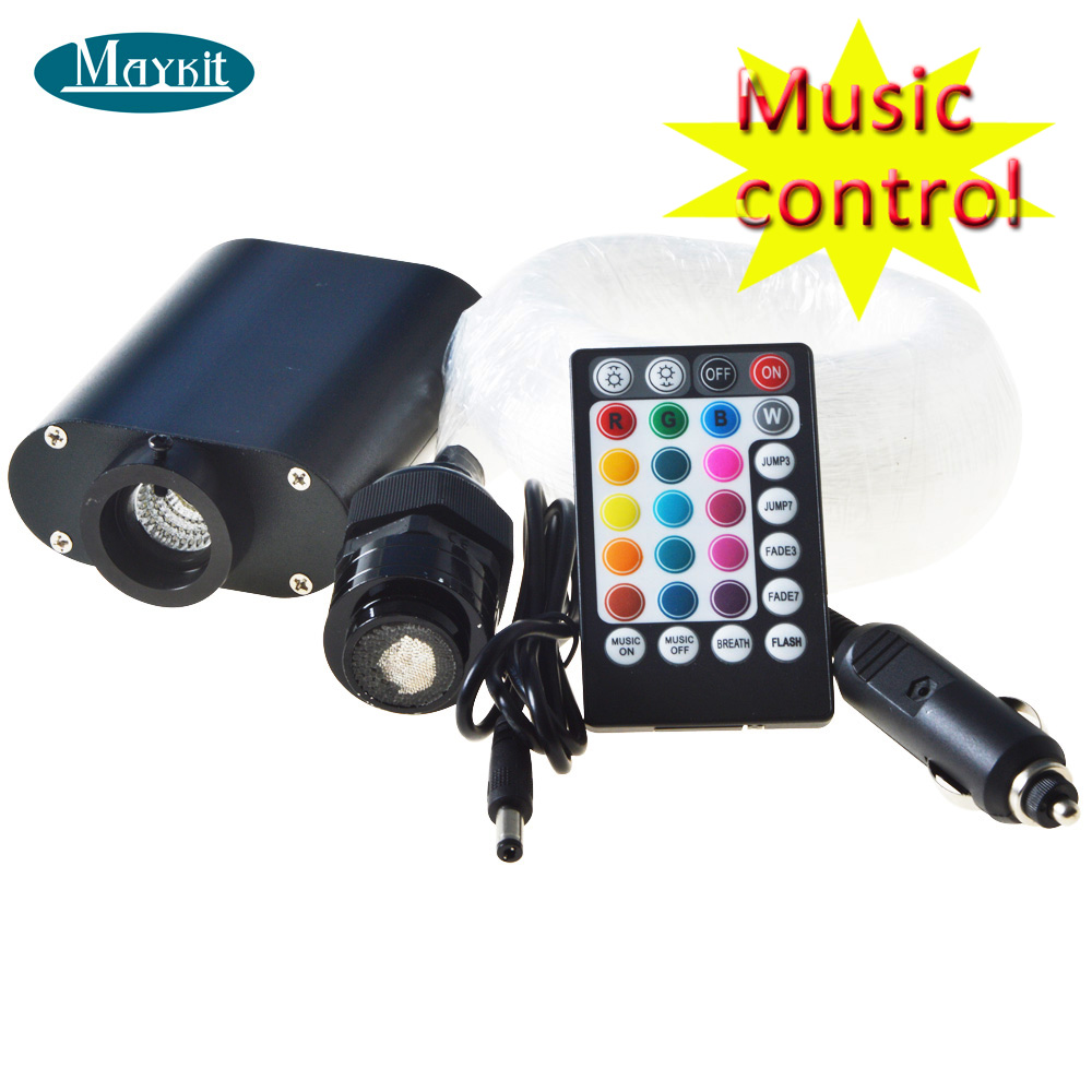 Maykit 12W RGBW LED Sound Active Musical Control Use Mixed Optical Cable Fiber Optic Ceiling Lighting
