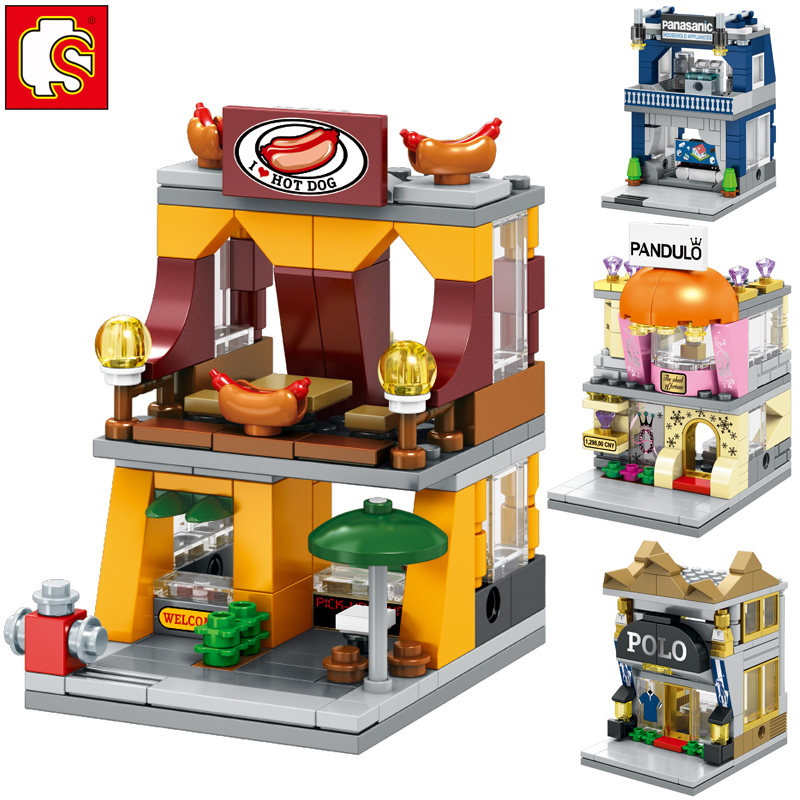 Sembo530pcs 4 in1 compatible legoinglys Store Shop Architecture 3D Model Hot dog Stands Electronics store fancy toy for children longoni fancy hot lips 4