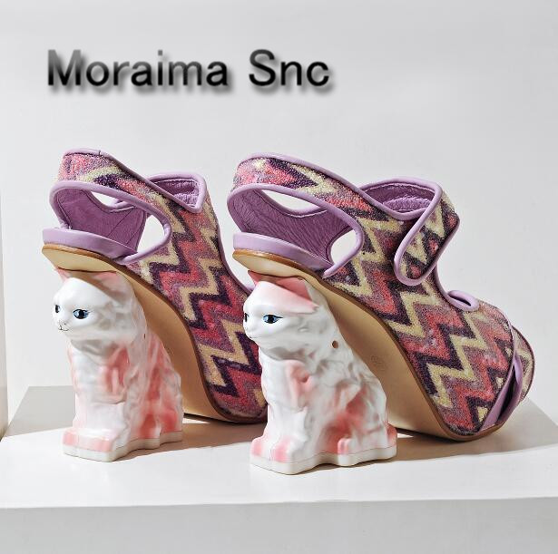 Moraima Snc Luxury design with heels pumps Cat strange style high heels shoes women peep toe mixed colors platform sandals women fashionable women s sandals with platform and hollow out design