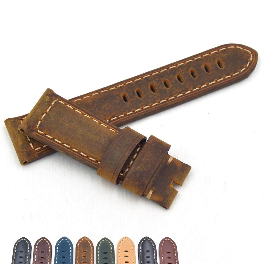 Italian Genuine Leather Handmade Watchband Retro Luxury Watch band 22mm 24mm For Panerai strap Bracelet Man 42 44mm dial PAM111 new matte red gray blue leather watchband 22mm 24mm 26mm retro strap handmade men s watch straps for panerai