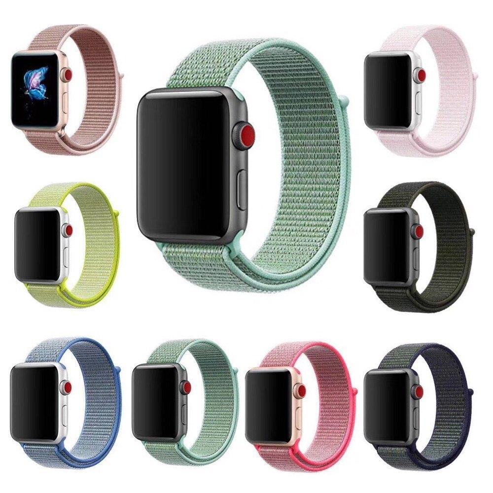 Nieuwe Collectie Nylon Sport Loop Vervangend Band voor Apple Horloge Serie 1/2/3/4 Lichtgewicht Soft ademend Geweven Band 38/42/40/44