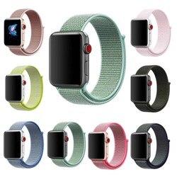 Nouveauté bande de remplacement de boucle de Sport en Nylon pour Apple Watch Series 2/3/4/5 bracelet tissé doux et respirant léger 38/42/40/44