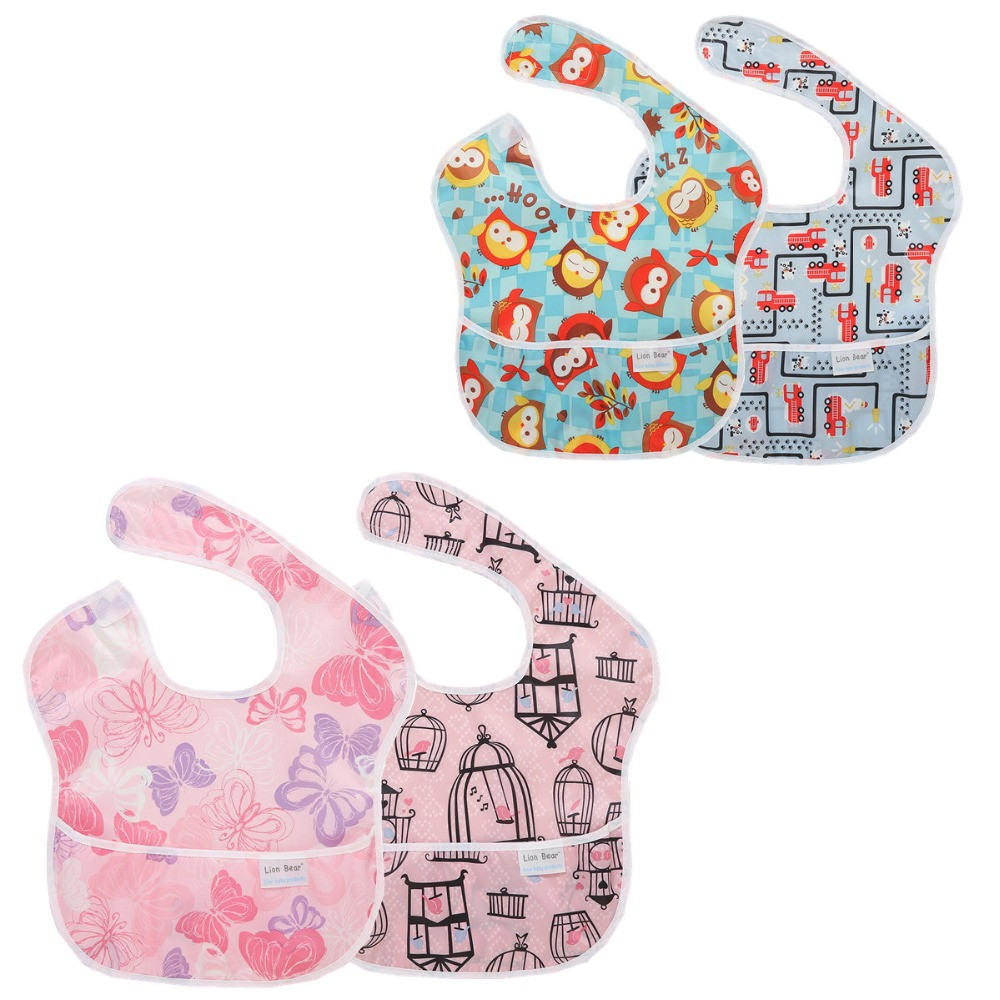 2 Pcs/lot Waterproof Baby Bibs Babador Cute Cartoon Baby Feeding Fashion Bandana Baby Bibs Babet for Lunch Mother Nest