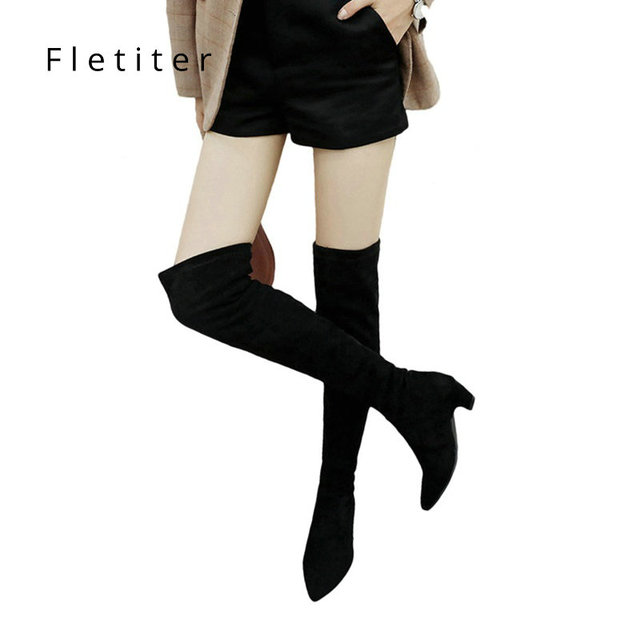 a291f226aab093 Women Stretch Faux Suede Thigh High Boots Sexy Fashion Over the Knee Boots  low Heels Woman Shoes Black Gray Kitten Heels Shoes