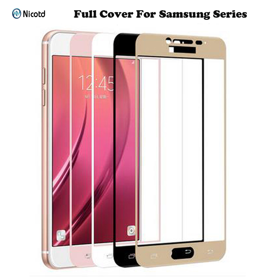 Galleria fotografica Full Cover Tempered Glass for Samsung Galaxy S6 S7 J2 J5 J7 Prime Note 4 Note 5 Galaxy A3 A5 A7 2016 2017 Screen Protector Film