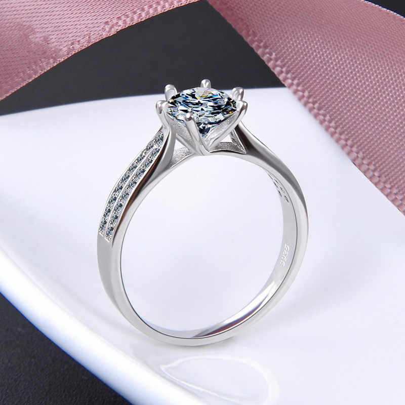 Luxury Jewelry Simulation Diamond Ring 100% 925 Sterling Silver Ring Women's High Jewelry Engagement Shiny Ring