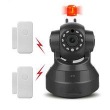 Wireless HD Alarm IP Camera Wifi Two Way Audio Onvif P2P Network Security Surveillance Camera Add Door Sensor CCTV Alarm System