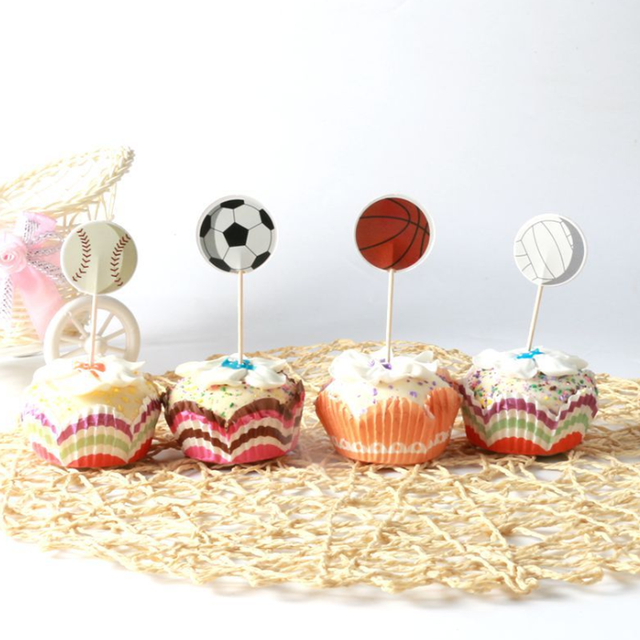 24 Pcsset Kawaii Football Sports Games Cupcake Toppers Cake Flag