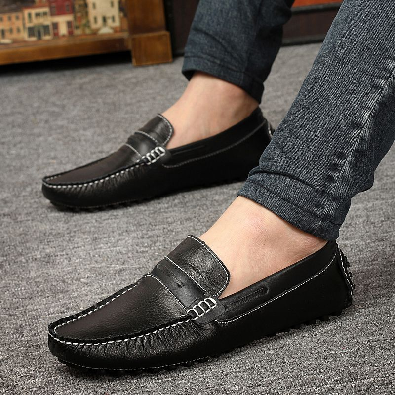 Conducción Hombre Pisos Moda Mocasines Zapato Negro Para Genuino En De Casual Italiano Resbalón Zapatos Negro Cuero azul amarillo Hombres Azul qwvxSfRWB6