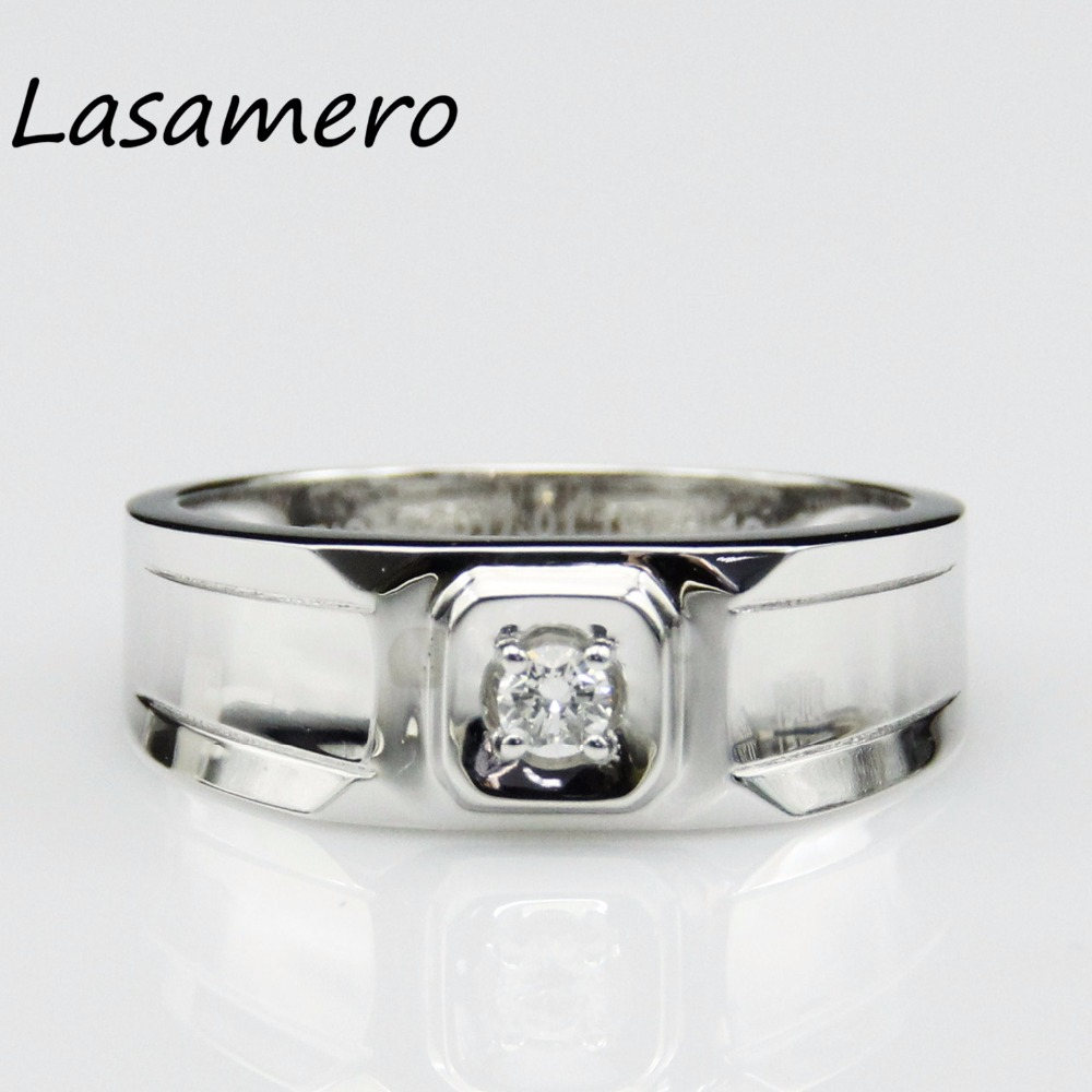 LASAMERO Ring For Women 0.08ct Certified Natural Diamond Ring Accents Platinum PT950 Gold Engagement Wedding Ring