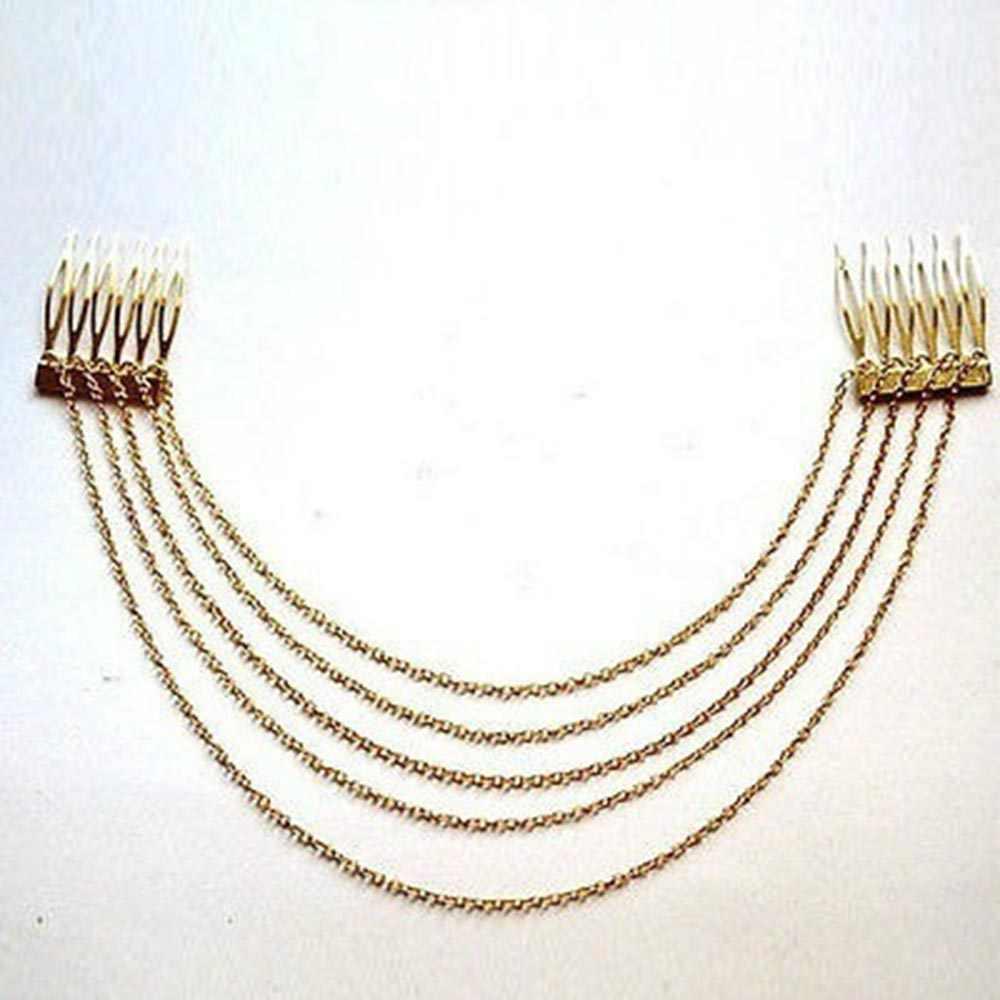 Модная женская панк-рок повязка на голову высокого качества 2 расчески цепи кисточки бахрома заколка для волос головная повязка вечерние ювелирные изделия