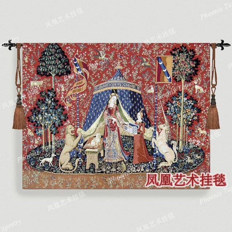 Serie textil para el hogar de Bélgica noblewoman 116X139 cm tapiz medio colgante de pared productos medievales H105-in Tapicería from Hogar y Mascotas    1
