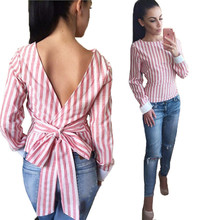 Striped Blouses Women Sexy Bowknot Backless Shirts Long Sleeve O neck Blouse Women Bandage Tops Cotton Female Clothing