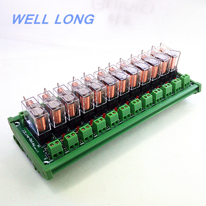 цена на DIN Rail Mount 12 SPDT 16A Power Relay Interface Module,OMRON G2R-1-E DC24V Relay.