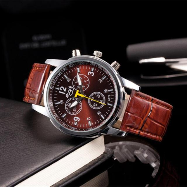 Crocodile Leather Band Alloy Quartz Wrist Watch 4