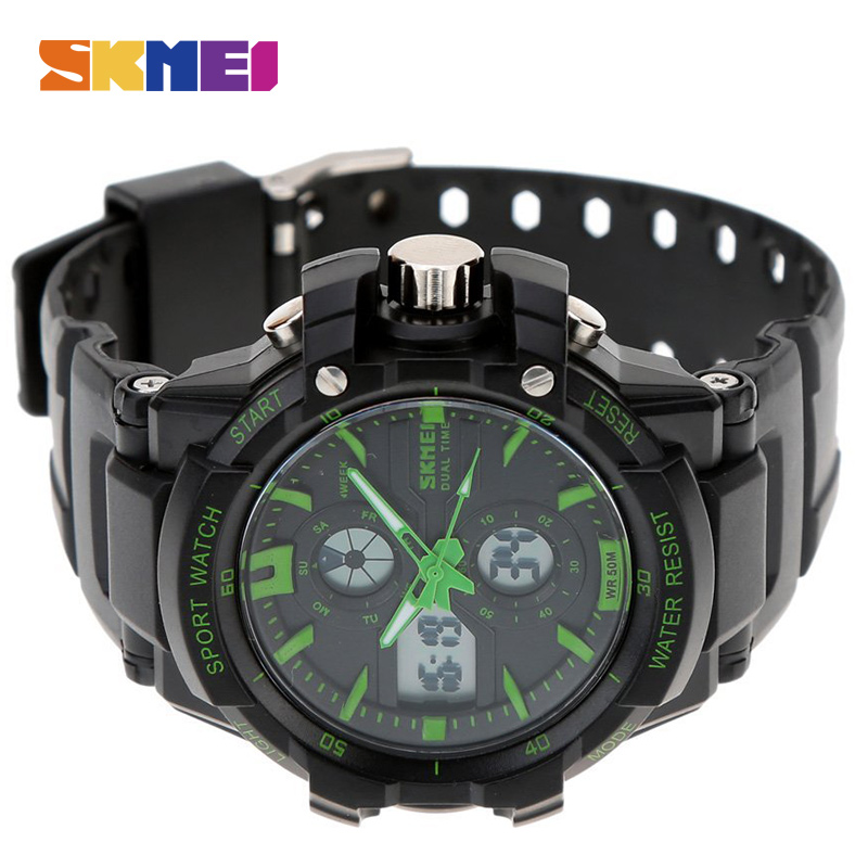 SKMEI Top Brand Luxury Sport Watch Men Digital Watches 5Bar Waterproof Military Dual Display Wristwatches relogio masculino 0990