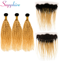 Sapphire Ombre 1B 613 Blonde 3 Bundles With Frontal Brazilian Jerry Curly Remy Human Hair Bundles Blonde Ombre Hair Bundles