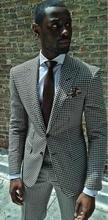 Mais recentes Modelos Casaco Calça Padrão Branco Preto Dos Homens Terno Slim Fit 2 Peça Elegante Smoking Blazer Personalizado Terno Masculino Jaqueta + Pant