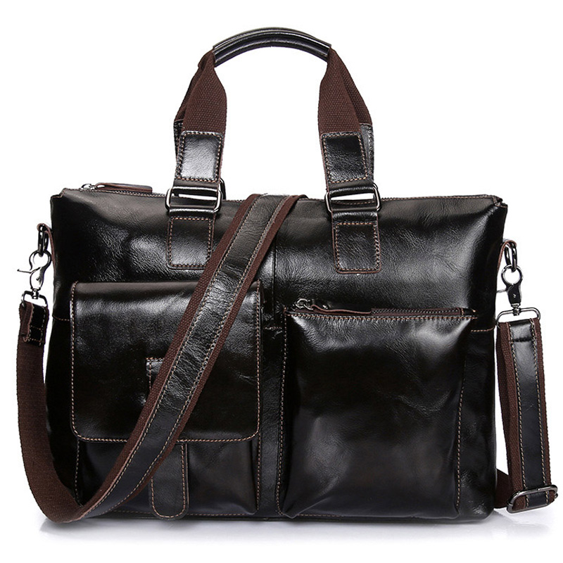 Brand Leather 14' Business Briefcase Sac Men's Computer Handbags Male Crossbody Shoulder Bag Messenger Bag For Laptop XA247ZC