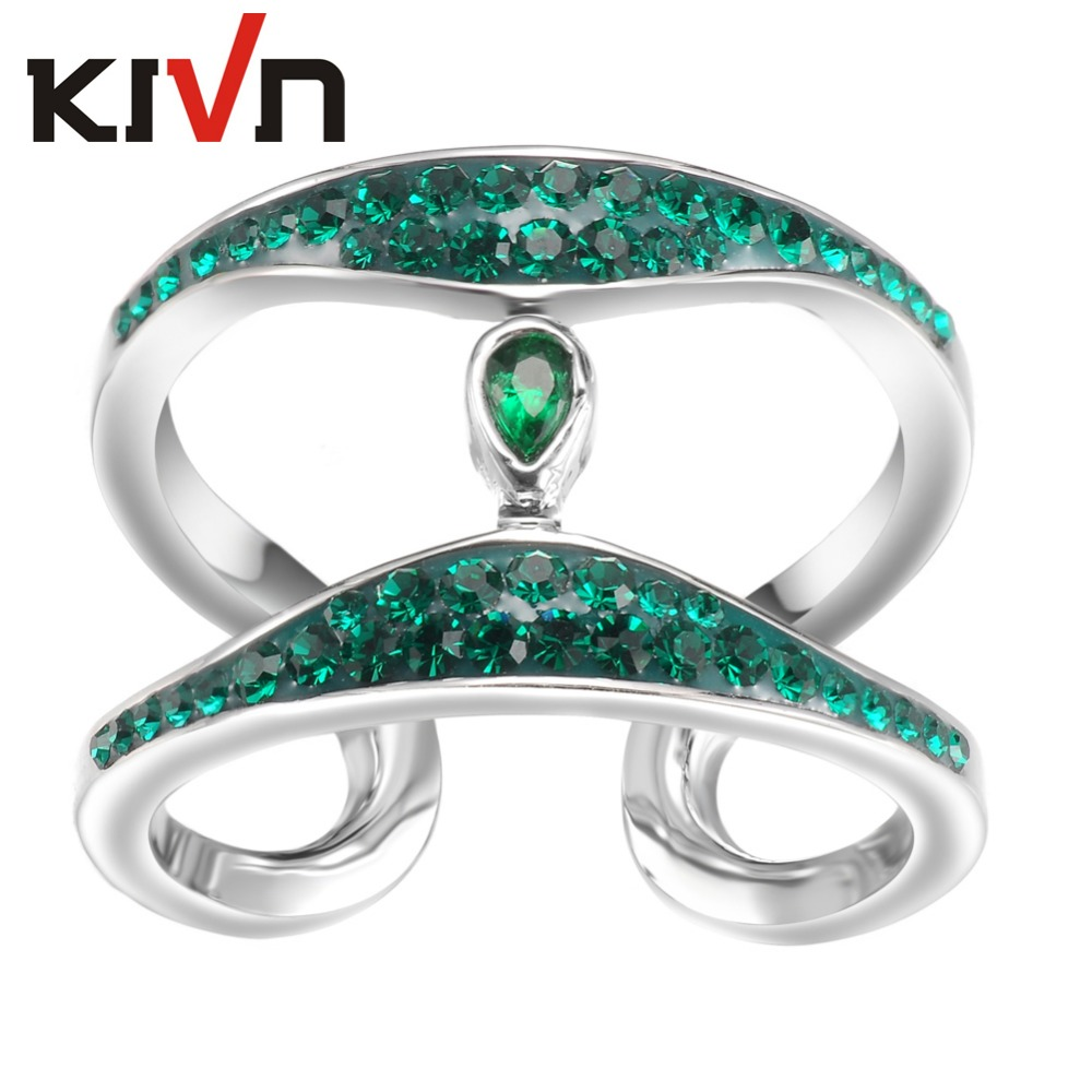 KIVN Womens Fashion Jewelry Blue Crystals Bridal Wedding Engagement Rings Promotion Girls Mothers Day Birthday font