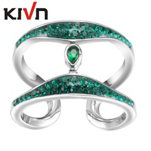 KIVN Womens Fashion Jewelry Blue Crystals Bridal Wedding Engagement Rings Promotion Girls Mothers Day Birthday Christmas Gifts