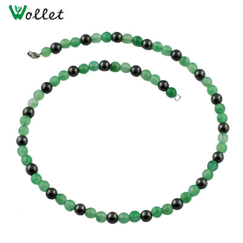 Wollet Fashion Necklace Jewelry Black Magnetic Hematite Beads Necklaces For Women Health Energy Lobster Clasps in Chain Necklaces from Jewelry Accessories