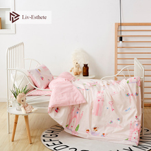 Liv-Esthete 2019 New 100% Cotton Pink Castle Kids Cartoon Blue Bedding Set Duvet Cover Pillowcase Bed Linen For Mom Baby 3Pcs