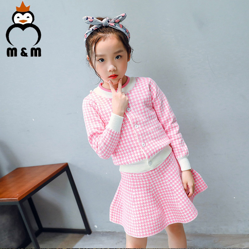 Baby Girls Sets 2018 New Autumn Pink Houndstooth Knitted Suits Long Sleeve Plaid Sweater+Skit 2Pcs Kids Suits For 3-6Y garyduck girls clothing sets kids knitted suits long sleeve houndstooth tops skirts 2pcs for girls suits