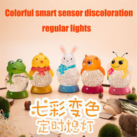Touch Sensitive Color Light Crafts Colorful Crystal Ball Rabbit Frog Owl Night Light Night Light Night