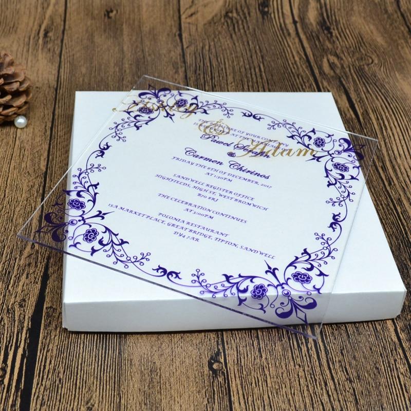 Acrylic Wedding Invitation Card Uv Printing Or Engraving Luxury