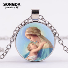 SONGDA High Quality Virgin Mary Baby Time Gem Pendant Necklace for Women Jesus Blessed Religious Necklace Jewelry Exquisite Gift(China)