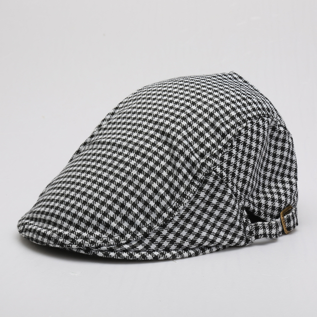 a03bf4c734 Algodón tejida boinas gorras sombrero con jacquard tela escocesa chequeado  Houndstooth para el adulto mujer hombre