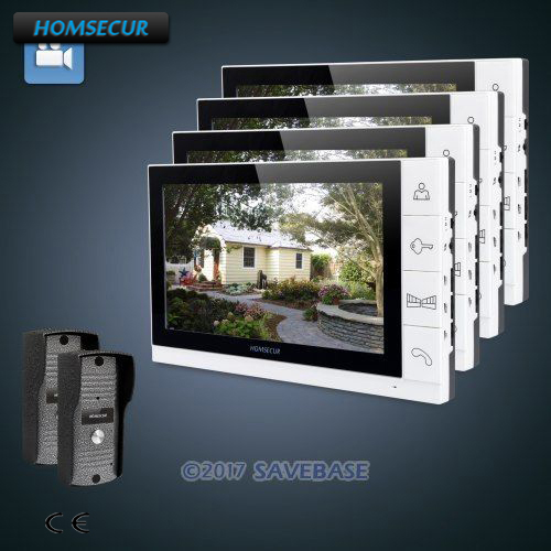 HOMSECUR 9 Wired Video&Audio Home Intercom+Metal Case Camera for Apartment 2C4M ...