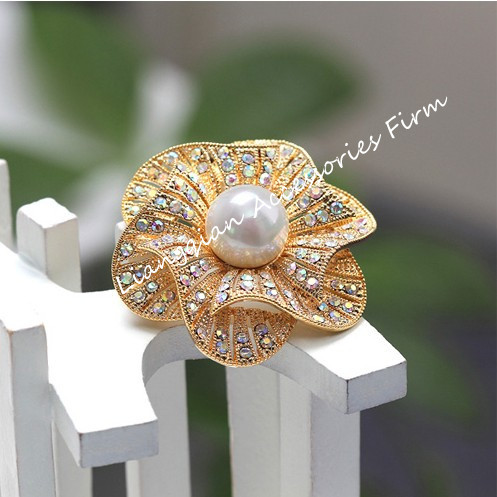 Красивый прозрачный с горным хрусталем белый искусственный жемчуг центр цветок Свадебная букетная брошь - Окраска металла: Gold AB Crystal