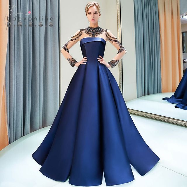 dd31350284d Vestidos de fiesta Heavy Beaded Long Sleeves Prom Dresses Long 2019 Ball  Gown Satin Formal Evening Gowns Party Gown