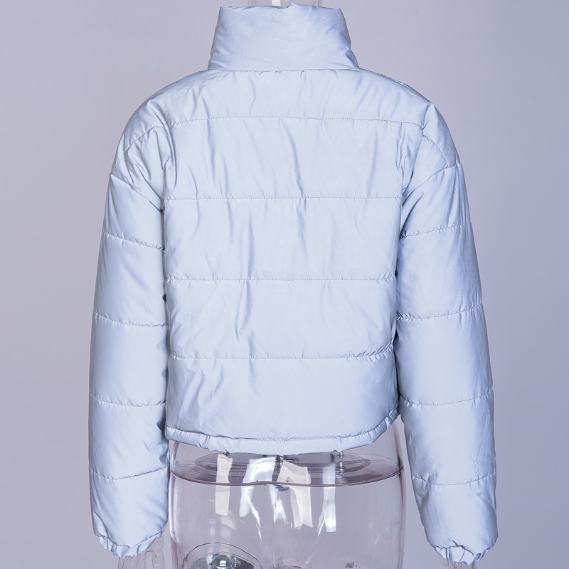 Fashion Winter Reflective Down Jackets Women Sliver Short Coat Female Turtleneck Padded Jacket Night Shiny Puffer Jacket in Parkas from Women 39 s Clothing