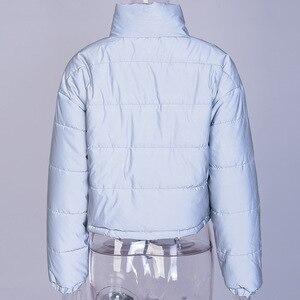 Image 4 - Veste dhiver réfléchissante à col roulé pour femme, manteau court argenté, rembourré, mode, nuit brillante